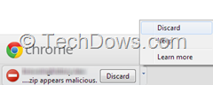 chrome says downloaded file appears malicious