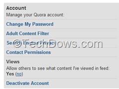 deactivate Views in Quora
