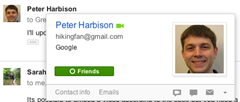 gmail Profile Card with Google Plus integration