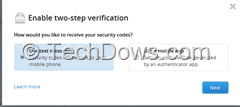 select option to receive security codes