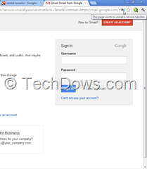 service handler notification icon in Chrome omnibox thumb Gmail in Chrome: This Page Wants to Install a Service Handler