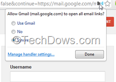 service handler popup dialog for Gmail