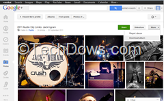 slideshow and download options added to Google plus photos
