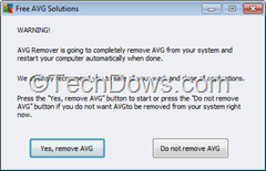 AVG remove warning dialog