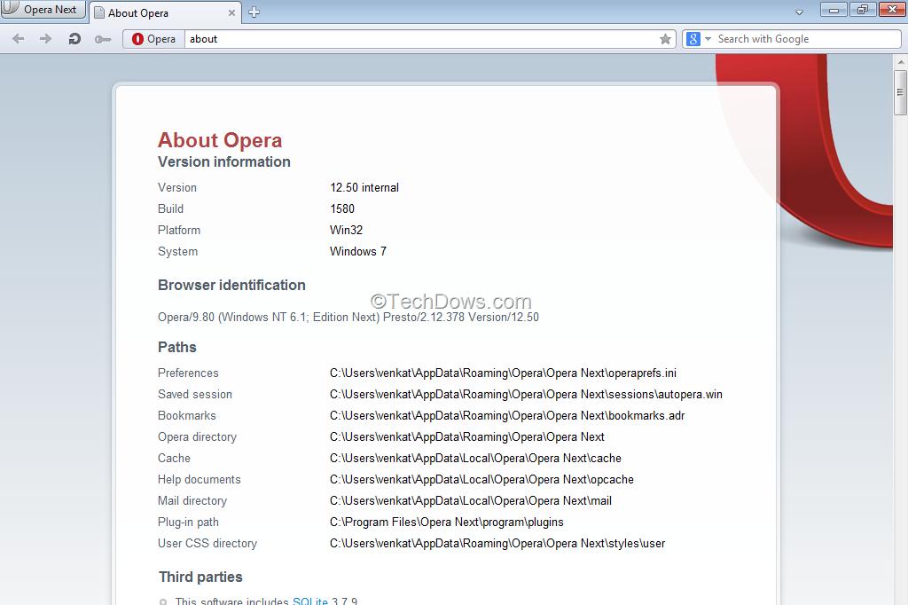 فور صدوره المتصفح البرنامج Opera 12.50 Build 1580 Snapshot