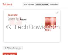 YouTube videos avaialble to download in Google Takeout