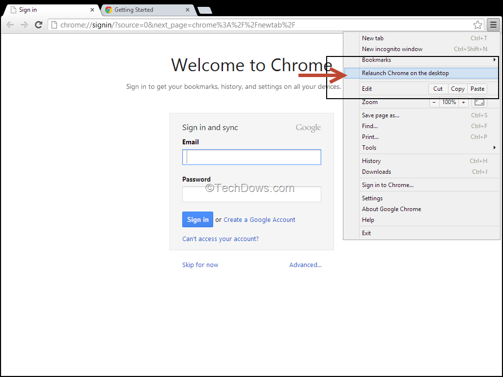 How to Relaunch Chrome on Desktop from Windows 8 Mode and