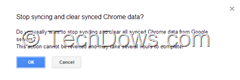 stop syncing and clear synced Chrome data