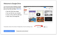 welcome to Google Drive pop up message