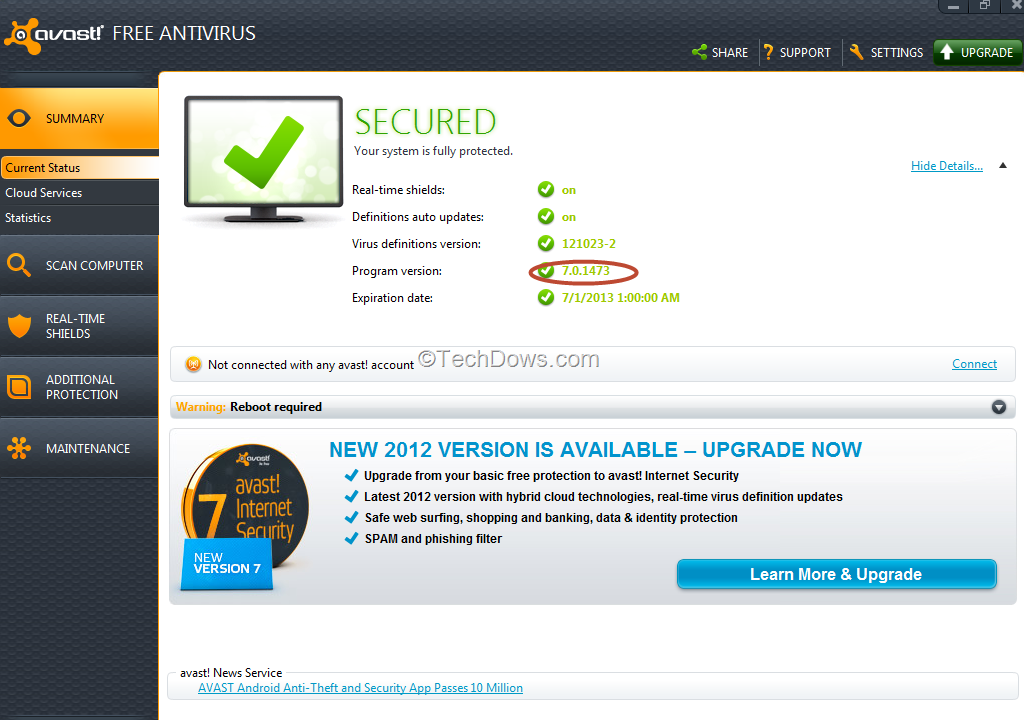 Avast Free Antivirus Windows 8