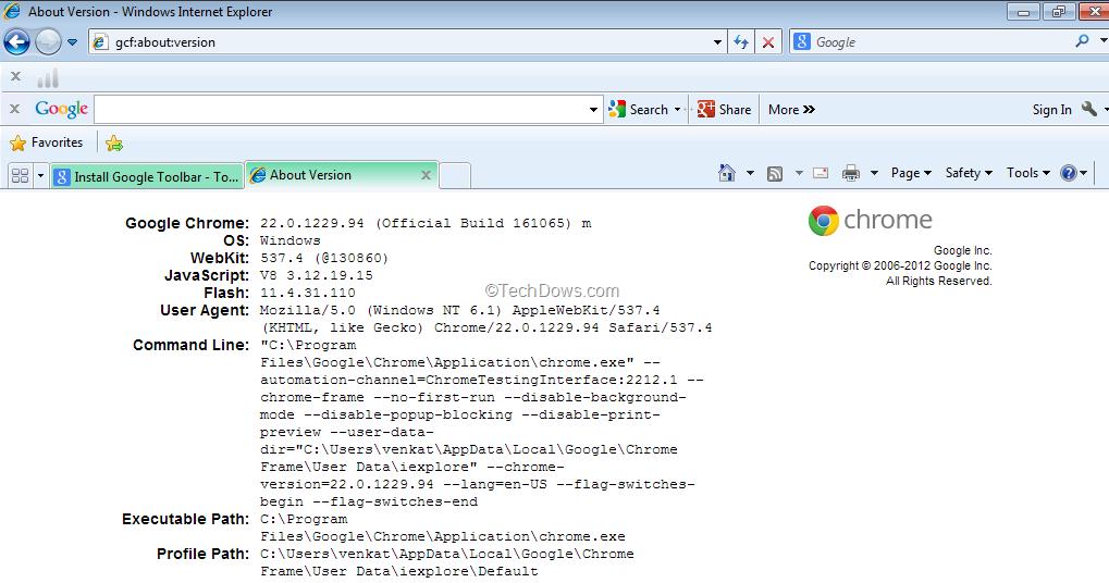 Google Toolbar Now Installing Chrome Frame