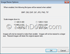 WinZip 17 image resize options