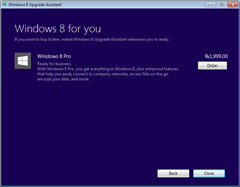 Windows 8 Pro purchase screen thumb Upgrade to Windows 8 Pro for Just RS. 699 In India