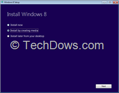 Windows 8 install options
