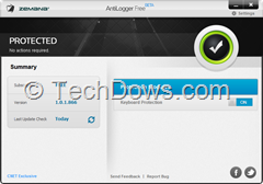 Zemana Antilogger Free version UI