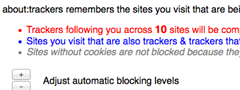 about trackers automatic tracking sites blocking