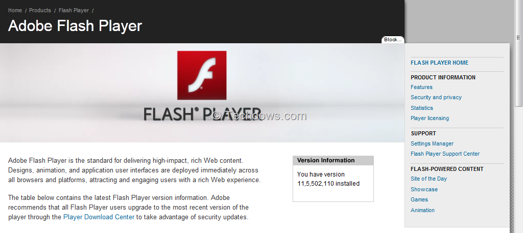 Adobe Flash Player11.5 submited images.