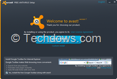 Avast welcome screen with pre-selected Google Toolbar at the bottom