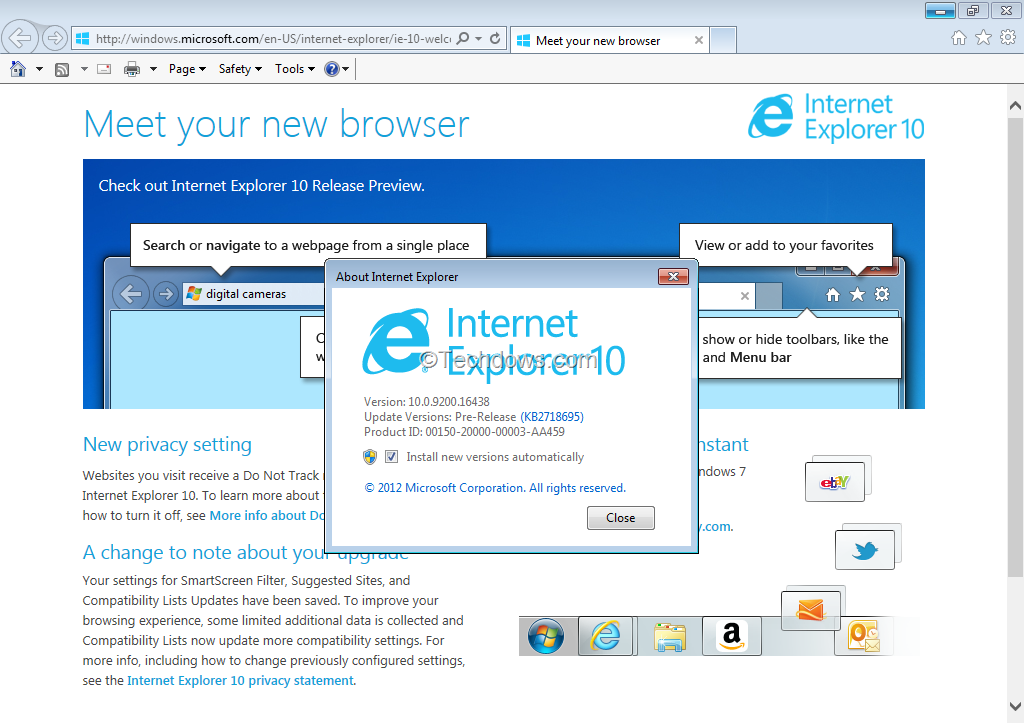 Download IE10 Preview for Windows 7 - Service Pack 1 is a Must