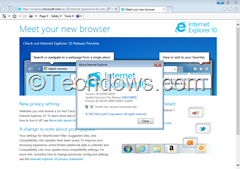 Internet Explorer 10 release Preview installed on Windows 7