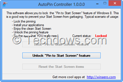 Pin to Start  locked so no programs can pin to Start automatically
