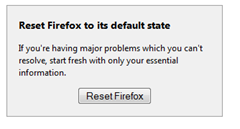 Reset feature axes toolbars, resets Firefox settings to defualt