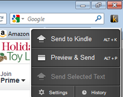 Send to Kindle icon showing options to send content to Kindle