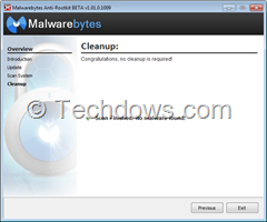 Use cleanup button to remove detected rootkits by MBAR