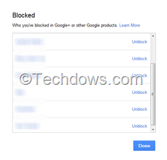 blocked people in Google plus, use unblock button