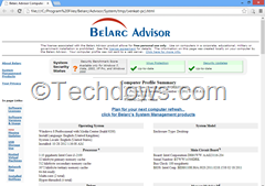 computer profile summary generated by Belarc Advisor in Windows 8