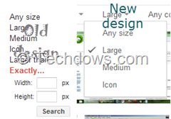 old and new Google image search design comparison with Exactly and Larger than options