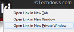 Firefox 20 gets the ability to open link in private browsing window from context menu