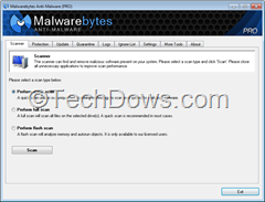 Malwarebytes anti-malware 1.70  user interface
