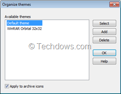WinRAR organize themes dialog