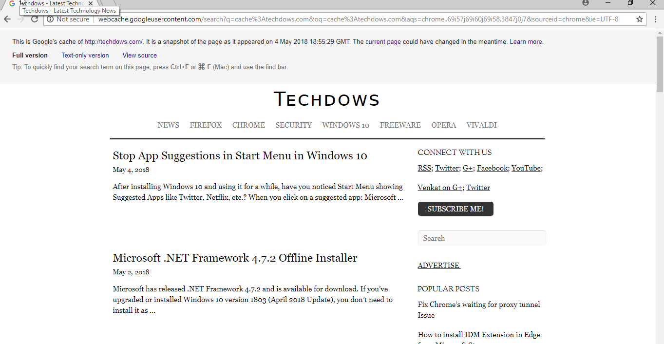 Access Google Cached Page from Chrome Address bar