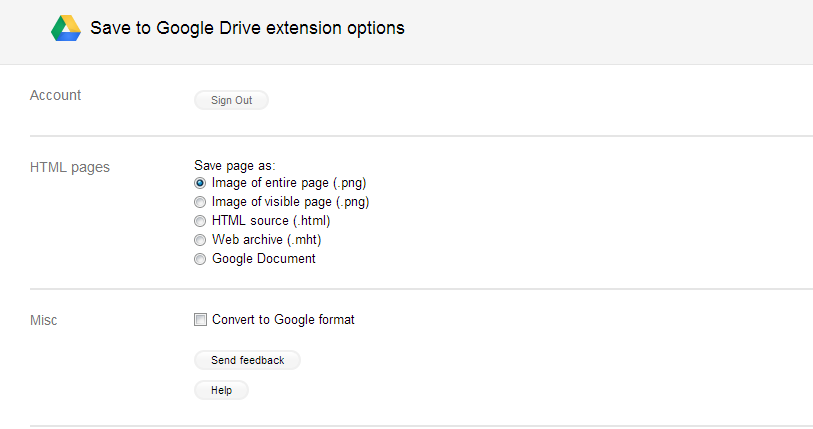 options of save to Google drive extension