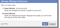 select Strict filtering to direct messages from people you don't know to other folder