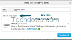 share this tweet via email dialog shown by Twitter website