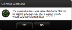 uninstall sucessfull