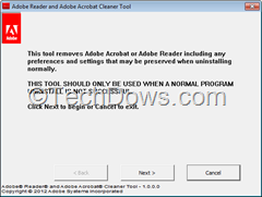 Adobe Reader and Adobe Acrobat Cleaner tool thumb Remove Adobe Reader 9, X and XI with Official Adobe Reader and Acrobat Cleaner Tool