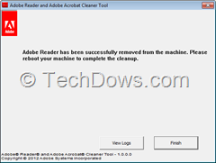 Adobe Reader successfully removed thumb Remove Adobe Reader 9, X and XI with Official Adobe Reader and Acrobat Cleaner Tool