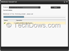 Bitdefender Uninstall tool performing uninstall of bitfedender AV free edition