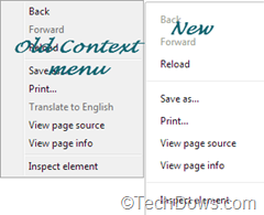 Chrome's old and new context menus compared