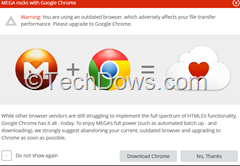 MEGA warns Firefox user to use Google Chrome