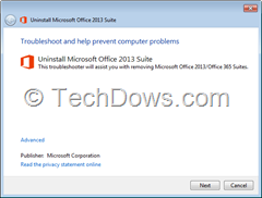 Troubleshooter launched by Office 2013 Fix it tool