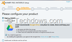 Avast 8 setup screen with install Google Drive pre-checked by default