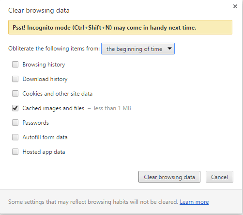Chrome clear browsing data dialog showing message to use incognito mode