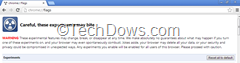 Chrome flags page with reset all to default button thumb Now You can Reset All Chrome Flags to their defaults