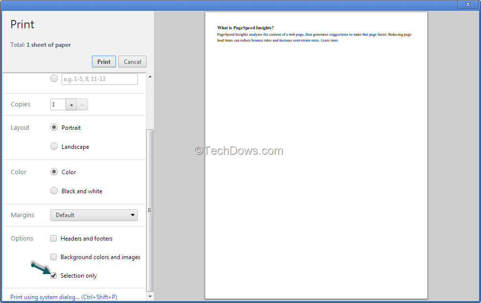 Chrome Print Preview Dialog Gets Print Selection Option