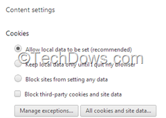 Chrome's  Cookies section lets you block third-party cookies